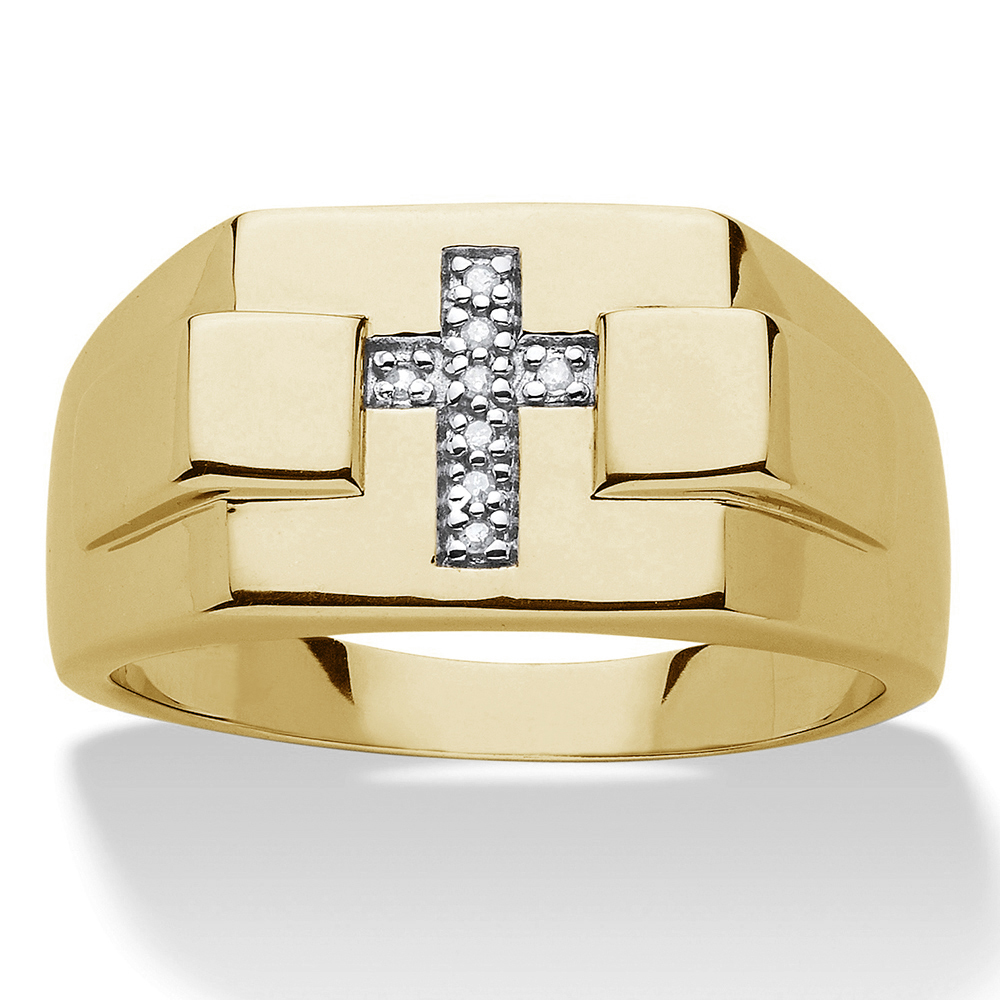 Primary image for Cross Shape Mens Ring Band Yellow Gold Finish Real Silver Lab Diamond Pinky Ring