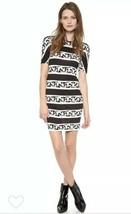 Diane Von Furstenberg DVF Brenna Chain Bands Silk Black Shift Dress Size 8 - $88.11