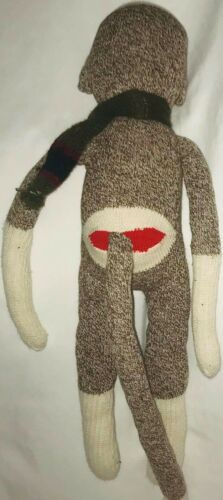 "Sock Monkey 20"" Plush Doll Brown Scarf image 4"
