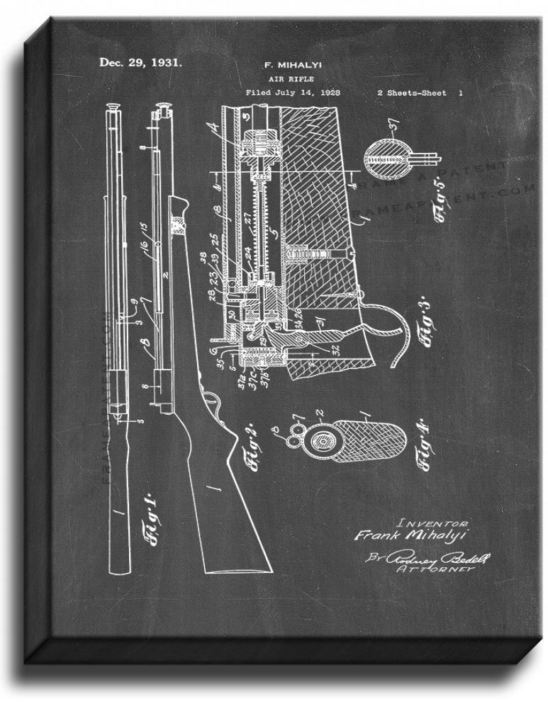 Primary image for Air Rifle Patent Print Chalkboard on Canvas