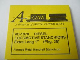 """A-Line # D-1070 Diesel Locomotive Stanchions Extra Long 1"""" Pack 35 HO Scale image 3"""