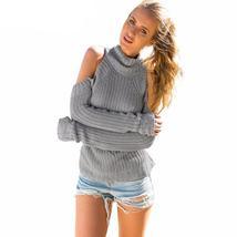 Turtle Neck Off Shoulder Pullover Sweater - $34.07