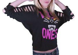Iron Fist Women's Black Panther Pink Wild Ones Slashed 3/4 Sleeve Crop T-Shirt image 3