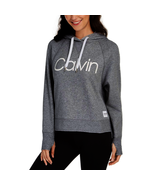 Calvin Klein Performance Relaxed Logo Fleece Hoodie, Grey Heather, L - $37.80