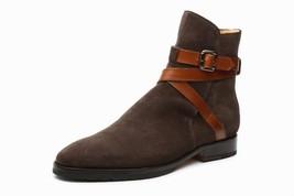 Handmade Men's Dark Brown Jodhpur Monk Strap High Ankle Suede Boots image 2