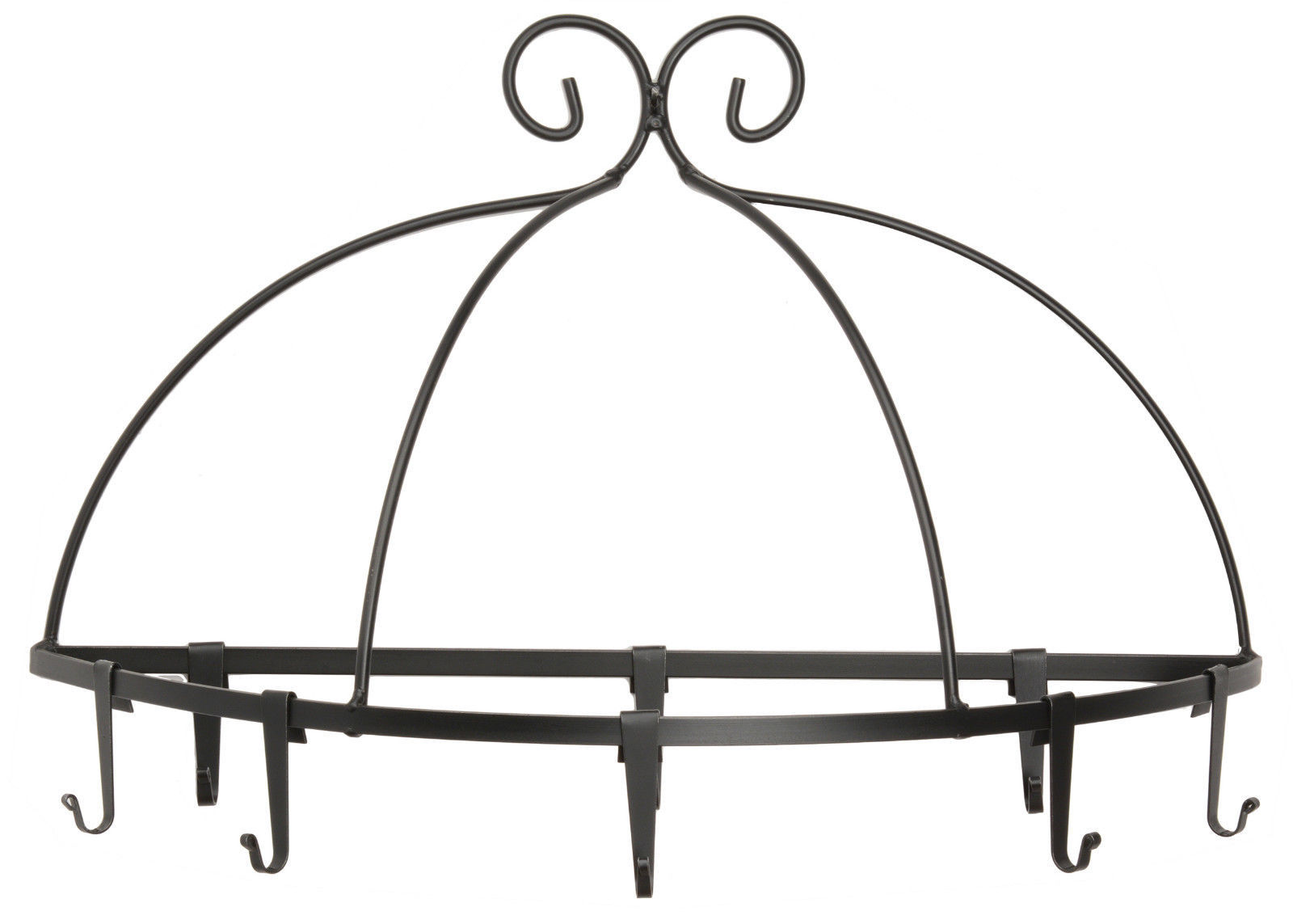 Primary image for WALL MOUNT POT PAN RACK Large Wrought Iron Kitchen Holder 8 Scroll Hooks USA