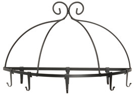 WALL MOUNT POT PAN RACK Large Wrought Iron Kitchen Holder 8 Scroll Hooks... - $89.07