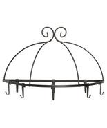WALL MOUNT POT PAN RACK Large Wrought Iron Kitchen Holder 8 Scroll Hooks... - $89.07
