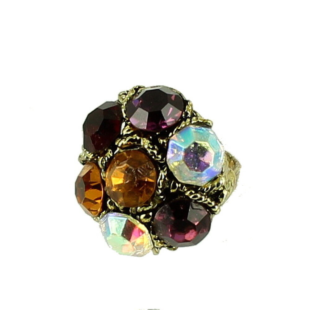 Primary image for VINTAGE Statement KNUCKLE BUSTER GIANT RHINESTONE RING ADJ 6.5-9.5 OUTRAGEOUS FU