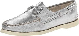 Sperry Girl's A/O 2-Eye Metallic Kid Suede Silver 8 - $50.64