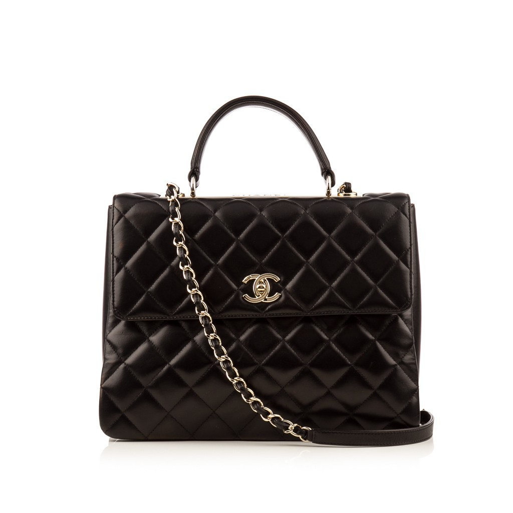 AUTHENTIC CHANEL LARGE BLACK QUILTED LAMBSKIN TRENDY CC DUAL TOP HANDLE FLAP BAG