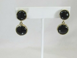 Vintage Napier Clip On Earrings Black Drop Dangle 49466 - $29.69