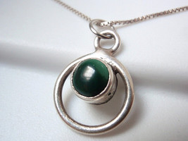 New Very Small Malachite 925 Sterling Silver Hoop Necklace - $20.87