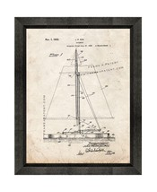 Sailboat Patent Print Old Look with Beveled Wood Frame - $24.95+