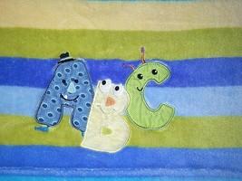 2013 Lambs & Ivy Striped Baby Blanket A B C ABC Blue Green Yellow Fleece... - $27.87