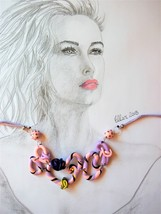 Looped Spaghetti Necklace in Pink and Mauve for wide necked Blouse by Ellar - $75.00