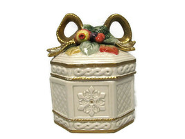 Fitz & Floyd Holiday Christmas Covered Trinket Box Snowy Woods Fruit Bow... - $19.79