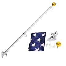 Retractile Telescopic 6'  American Flag Kit Wall Mount Spinning pole Wit... - $66.33