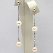 Drop Earrings White Gold 18K, Chain Venetian, Pearl White and Fishing, 8 MM image 1