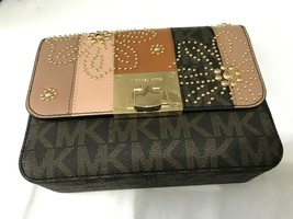 e17fd63ed036 Michael Kors Signature TINA Leather PVC Small Shoulder Flap Crossbody Bag  Brown -  117.81