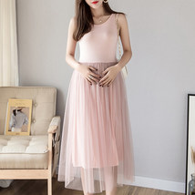 Maternity Dress Solid Color O Neck Sleeveless Tulle Dress image 3
