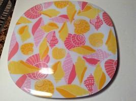 "New Seashells Square Hard Plastic Dinner Plate 11"" DIAM Lot of 4 Pink Ye... - $18.69"