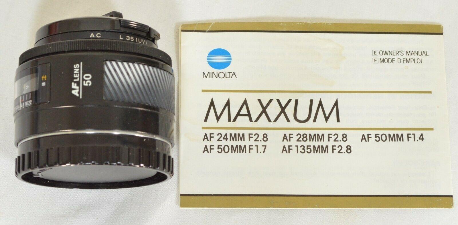 Minolta AF 50mm f/1.4 AF RS camera lens Sony Alpha A-mount image 5