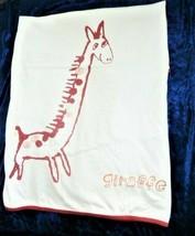 Baby Gap White Red Orange Giraffe Stripe Cotton Blanket Infant Vintage early 00s - $59.39