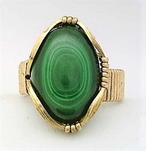 Malachite Brass Wire Wrap Gemstone Ring 15 - $10.28