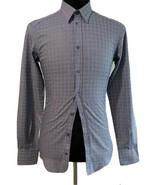 Y-1189100 New Dolce & Gabbana Gray Checker Long Sleeve Shirt Size 15 38 - $144.43