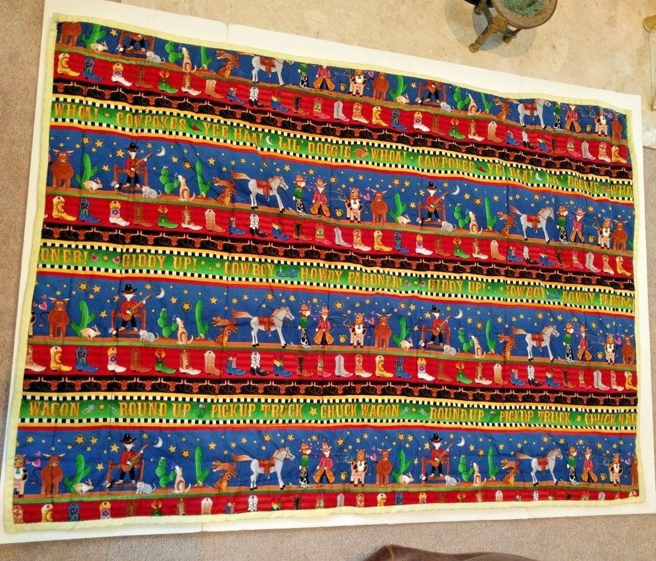 "Baby Crib Lap Quilt or Play Mat 46"" x 34"" Cowboy Boots"