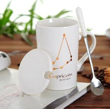Capricorn White Bone Mug With Stainless Steel Spoon Zodiac Ceramic Cup 4... - $35.35