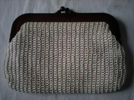 Vintage MCI White Raffis Clutch Rootbeer Brown Plastic Handle Hong Kong - $24.75