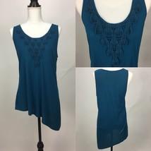 Fashion Bug Blue Asymmetrical Sleeveless Top w Crochet Front Gold Bead A... - $14.01