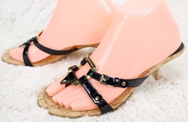 """GUESS Sandals Black Patent Leather Straps Brass Buckle Cork sole  2"""" Heel size 7 - $35.64"""