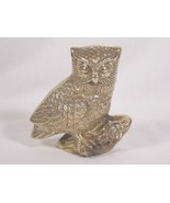 """Solid Brass Owl Standing on Branch Log Figurine Statue 4 1/2"""" Tall Vintage  - $21.77"""