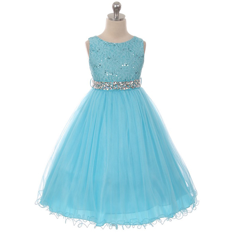 Turquoise Sequin Bodice Double Layers Tulle Skirt Rhinestones Flower Girl Dress - $37.00 - $55.00
