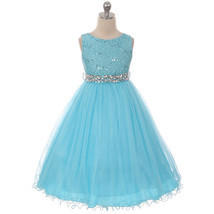 Turquoise Sequin Bodice Double Layers Tulle Skirt Rhinestones Flower Girl Dress - $37.00+