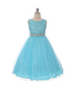 Turquoise Sequin Bodice Double Layers Tulle Skirt Rhinestones Flower Gir... - $50.32 CAD+