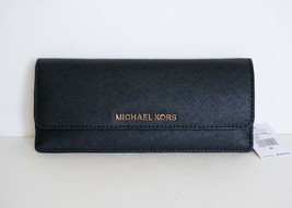 ce371765c284 Nwt Michael Kors Jet Set Travel Saffiano Leather Slim Flat Wallet Black -  $48.39