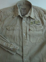 LEVIS Heavy Cotton Button Front Shirt Size MEDIUM Khaki Denim Gold Rush ... - £13.29 GBP