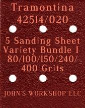 Tramontina 42514/020 - 80/100/150/240/400 Grits - 5 Sandpaper Variety Bu... - $7.53