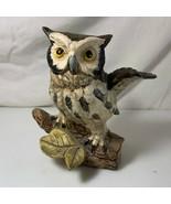 Owl Flying Landing on Log Norleans Japan Ceramic Figurine Bird Feathers   - $9.89