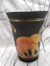 "FENTON ART GLASS 2005 PLATINUM COLL. ""ELEPHANT WALK"" ON BLK MARIGOLD VAS... - $250.00"