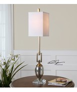 "NEW MODERN 37"" COFFEE BRONZE METAL & MERCURY GLASS TABLE LAMP LINEN SHAD... - $195.80"