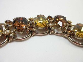 Rhinestone Bracelet Chunky Statement Topaz Yellow Gold Link Chain Large ... - $69.30