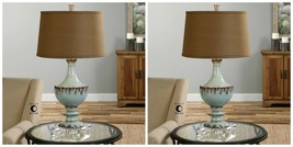 TWO FARMHOUSE RESTORATION AGED CERAMIC MOLARA TABLE LAMP CRYSTAL BASE LIGHT - $620.40