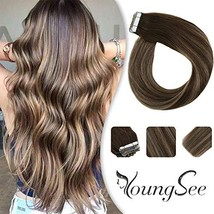 YoungSee Tape in Hair Extensions Human Hair Ombre Dark Brown Fading to C... - $41.45
