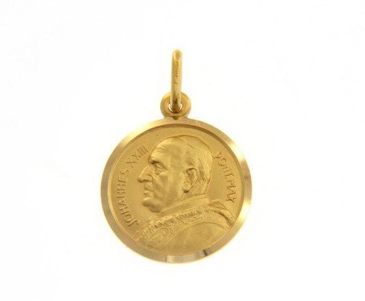 SOLID 18K YELLOW GOLD POPE JOHANNES JOHN XXIII MEDAL VERY DETAILED MADE IN ITALY