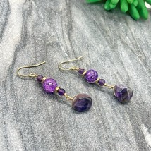 Amethyst and crackle quartz dangle earrings in 14k gold filled - $18.00+